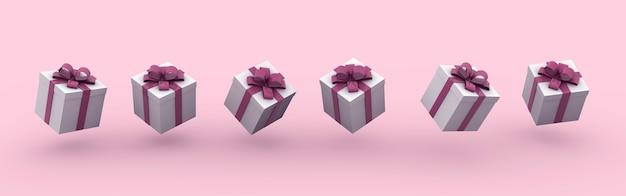 Ilustração de renderização 3d de caixas de presente com arcos em um fundo rosa