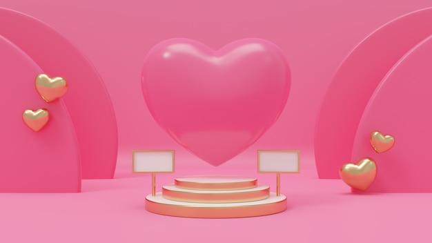 Ilustração de renderização 3d de coração rosa no pódio premium, fundo rosa, decorado com balão de ouro de coração para amor, casamento, dia dos namorados, aniversário.