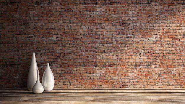 Ilustração de renderização 3d de dia ensolarado sala de estar suja, vasos antigos de parede de tijolo vermelho piso de madeira