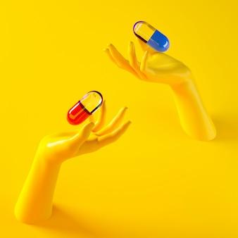 Ilustração de renderização 3d de duas mãos segurando cápsulas diferentes comprimidos