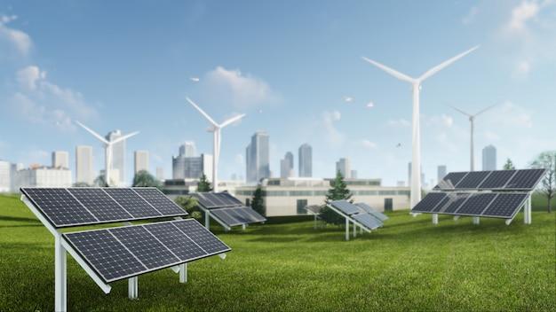 Ilustração de renderização 3d de energia sustentável de moinho de vento e células solares