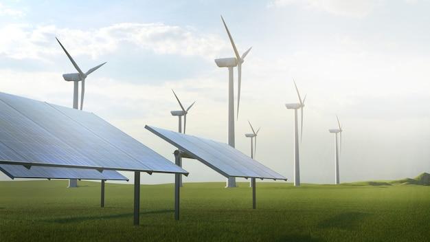 Ilustração de renderização 3d de energia sustentável de turbina eólica e célula solar.