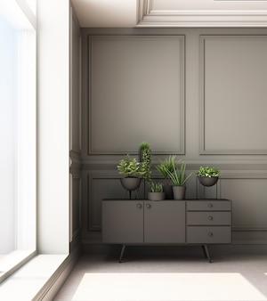 Ilustração de renderização 3d de sala de estar com painel de parede clássico de luxo e armário baixo