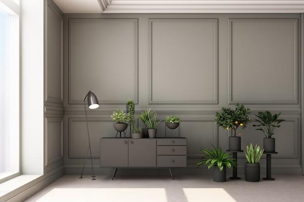 Ilustração de renderização 3d de sala de estar com plantas e painel de parede clássico de luxo