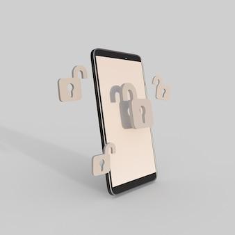 Ilustração de renderização 3d do cadeado aberto do celular
