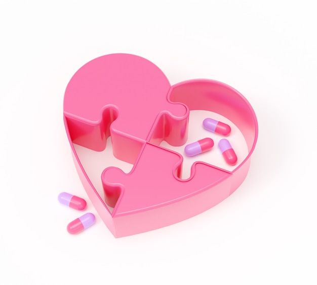 Ilustração de renderização 3d do coração de quebra-cabeça e pílulas rosa sobre fundo branco, tratamento de conceito, design realista.