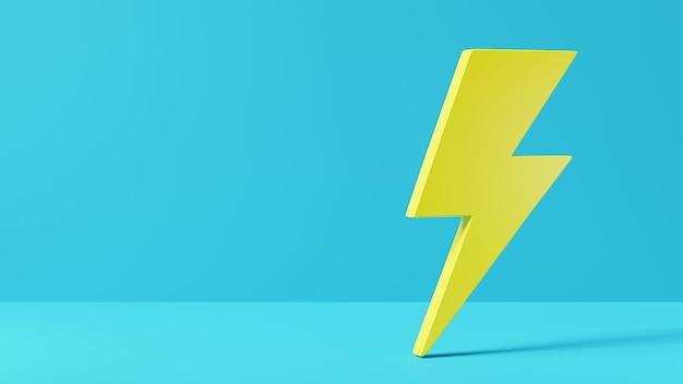 Ilustração de renderização 3d do logotipo do elemento de energia elétrica ícone de relâmpago