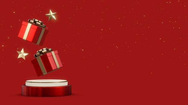 Ilustração de renderização 3d do pódio de forma geométrica decorado com caixas de presente e enfeites de natal, conceito de ano novo com espaço de cópia