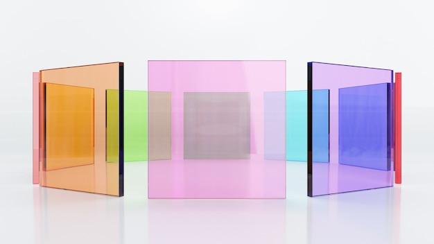 Ilustração de renderização 3d, folha quadrada de vidro colorido alinha-se em forma de círculo no fundo branco. imagem para apresentação.