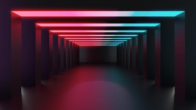 Ilustração de renderização 3d, fundo abstrato de iluminação com lâmpadas geométricas de corredor brilhando com luz azul e rosa. estúdio vazio com vista em perspectiva para apresentação