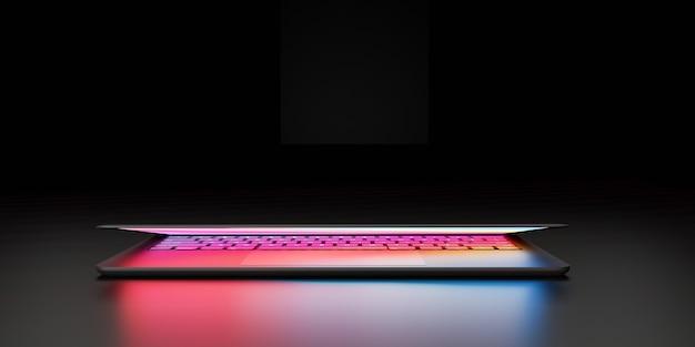Ilustração de renderização 3d. o computador portátil com tela colorida e teclado fecha a tampa do lugar na câmara escura e o efeito de iluminação. imagem para apresentação.