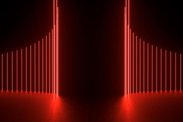 Ilustração de renderização 3d. quarto vazio escuro futurista de sci fi com néon brilhante.