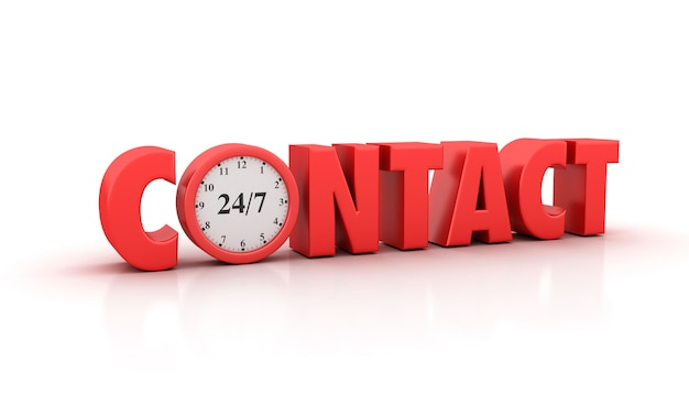 Ilustração de renderização da palavra contact com relógio