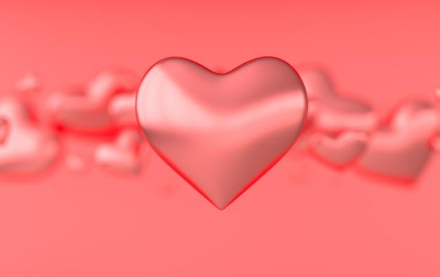 Ilustração de renderização de padrão de corações de dia dos namorados Foto Premium