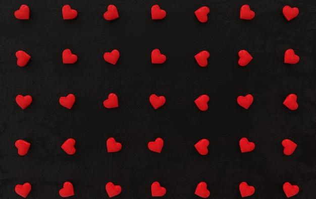Ilustração de renderização do padrão de corações doces para o dia dos namorados