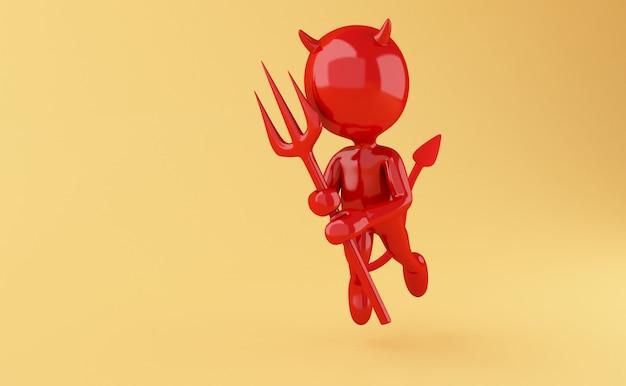 Ilustração de renderizador 3d. diabo com o tridente vermelho no fundo amarelo.