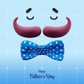 Ilustração de rosto invisível com bigode, gravata borboleta em fundo de grade azul para o conceito de dia dos pais feliz.