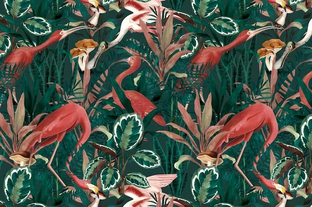 Ilustração de selva de fundo de padrão de flamingo