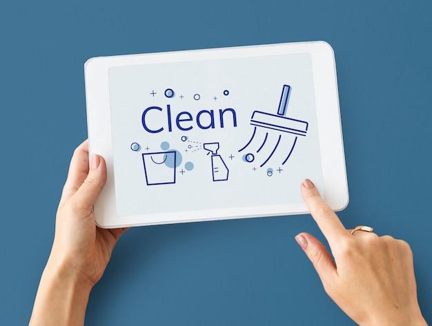 Ilustração de serviço de limpeza doméstica em tablet digital