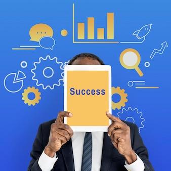 Ilustração de sucesso de gestão de estratégia empresarial