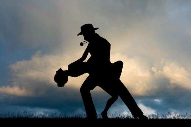 Ilustração de tango ao pôr do sol