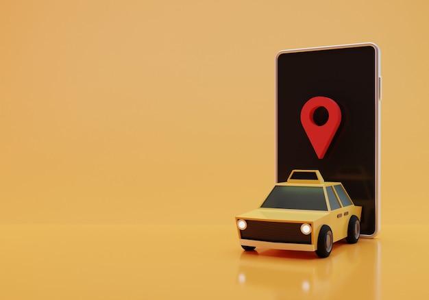 Ilustração de táxi online, renderização em 3d