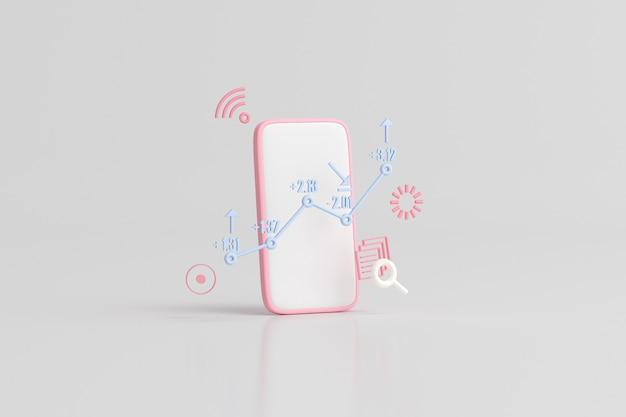 Ilustração de telefone inteligente com gráfico de negociação de ações, gráfico de estratégia de crescimento, conceito de negócio. renderização 3d.