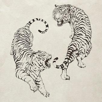 Ilustração de tigres yin yang rugindo desenhados à mão