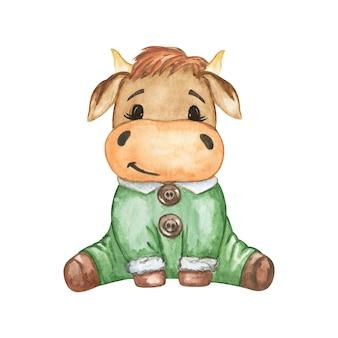 Ilustração de touro de natal, vaca fofa, clipart engraçado de touro em aquarela, synbol de ano novo 2021, decoração