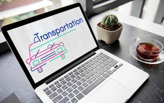 Ilustração de transporte de aluguel de automóveis automotivos no laptop