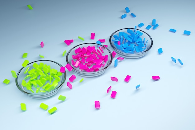 Ilustração de três pequenos pratos de vidro com gomas de mascar multicoloridas