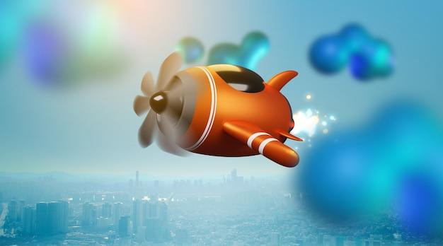 Ilustração de um avião de brinquedo sobre uma nuvem