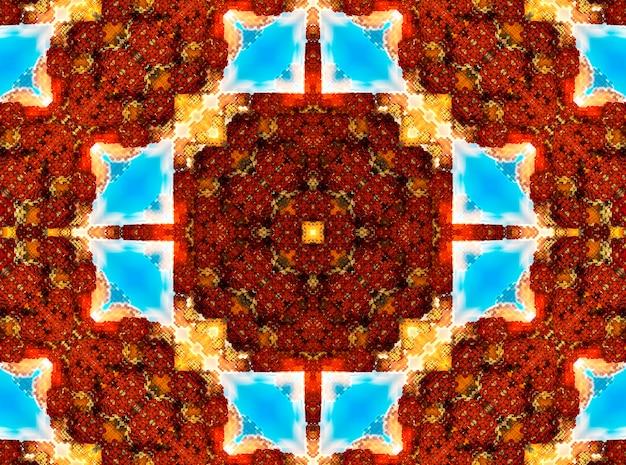 Ilustração de um caleidoscópio de fractal brilhante de chamas e sol com espirais.