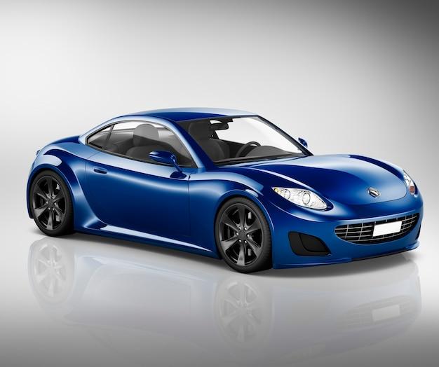 Ilustração, de, um, carro azul