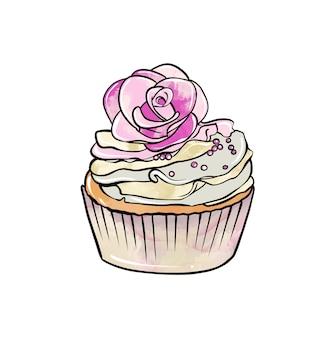 Ilustração de um desenho colorido de bolinho de doces com creme e decorado com flores em um branco