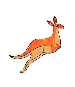 Ilustração de um desenho colorido de canguru pulando laranja em um fundo branco isolado alto