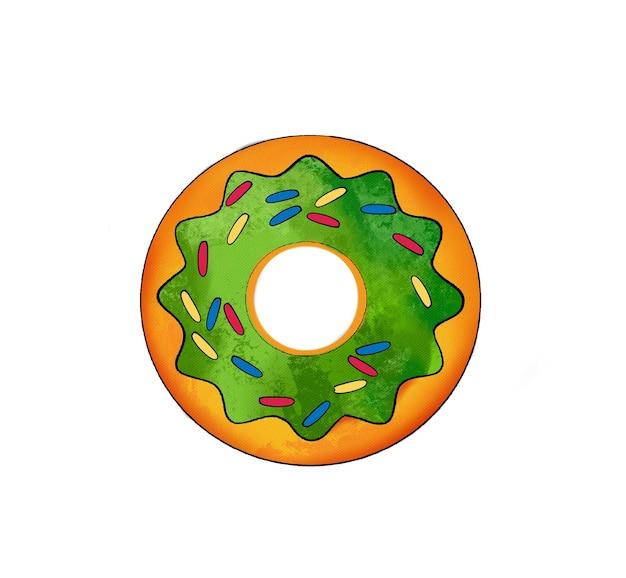 Ilustração de um desenho colorido de donuts de doces com esmalte de cores diferentes em um branco
