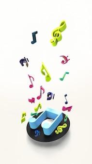 Ilustração de um disco de vinil de gramofone com notas musicais coloridas