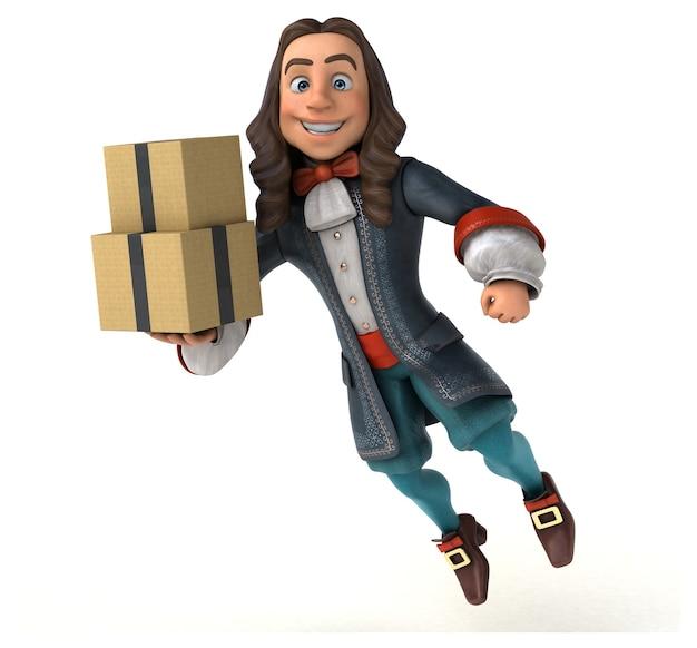 Ilustração de um homem de desenho animado em traje histórico barroco