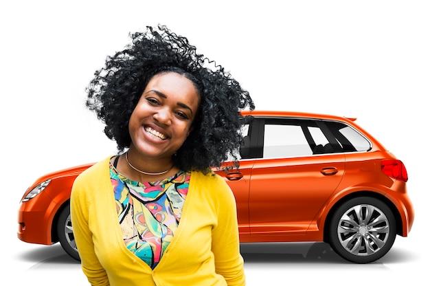 Ilustração, de, um, laranja, hatchback, car, com, um, mulher
