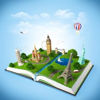 Ilustração de um livro aberto com monumentos famosos