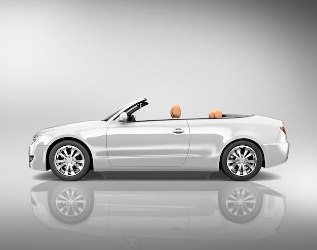 Ilustração, de, um, prata, carro bronze