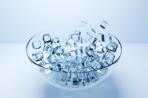 Ilustração de um prato grande com pequenos cubos de gelo transparentes