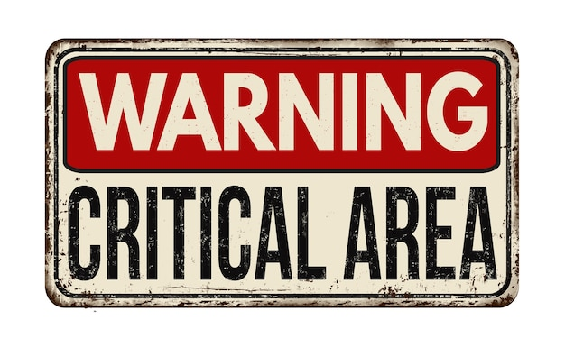Ilustração de um sinal vermelho de alerta de área crítica em um branco