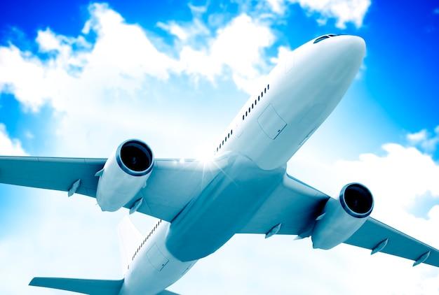 Ilustração, de, um, voando, avião