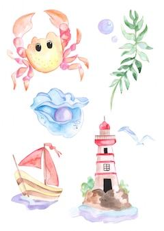 Ilustração de uma aguarela por habitantes do mar e vida marinha