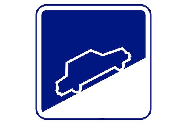 Ilustração de uma placa de rua íngreme azul