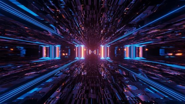 Ilustração de várias luzes azuis fluindo em uma direção