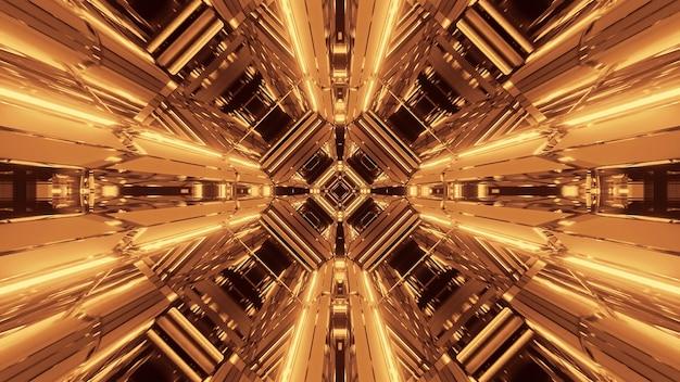 Ilustração de várias luzes douradas em movimento fluindo em uma direção
