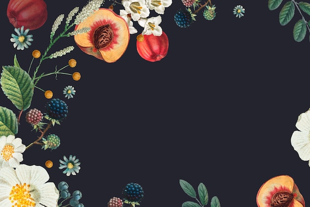 Ilustração desenhada à mão do fundo do quadro floral botânico vintage